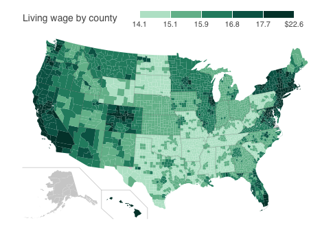 Map Where US Retailers Are Paying a Living Wage and Where They